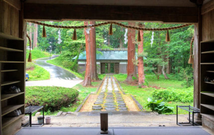 The view outside from Saikan on Mt. Haguro's main entrance