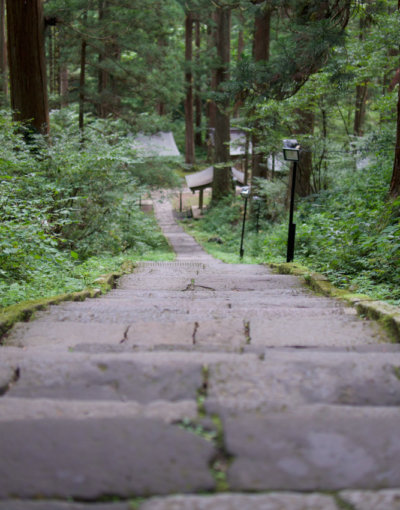 Stone stairway on Mt. Haguro of the Dewa Sanzan