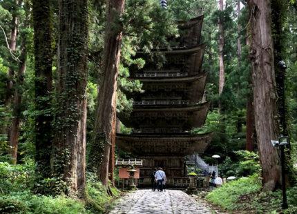 Mt. Haguro of the Dewa Sanzan Five Storied Pagoda Light Up on this summer