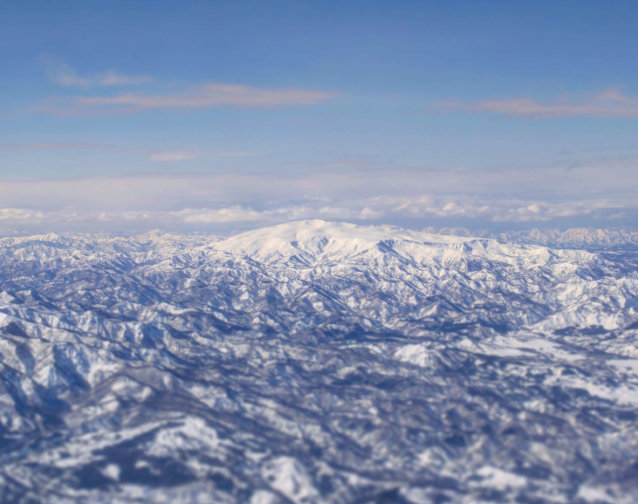 Mt. Gassan of the Dewa Sanzan seen from the sky in the winter