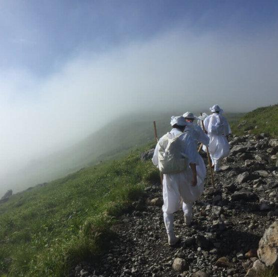 Yamabushi train in the fog of Mt. Gassan of the Dewa Sanzan under the guidance of Master Hoshino