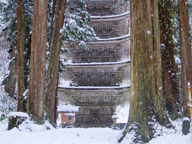 Mt. Haguro Five Storied Pagoda in snow