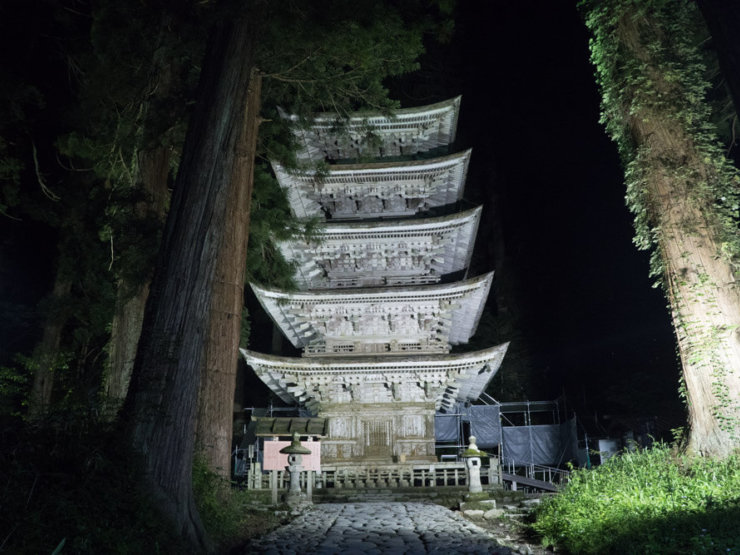 Dewa Sanzan Mt. Haguro Five Storied Pagoda Light Up at night