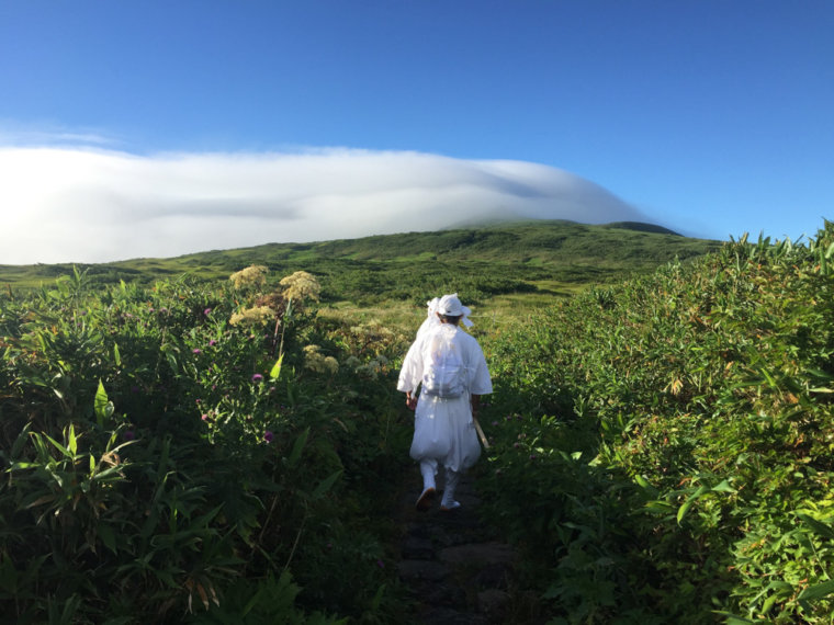 Yamabushi on Mt. Gassan during Dewa Sanzan Hike