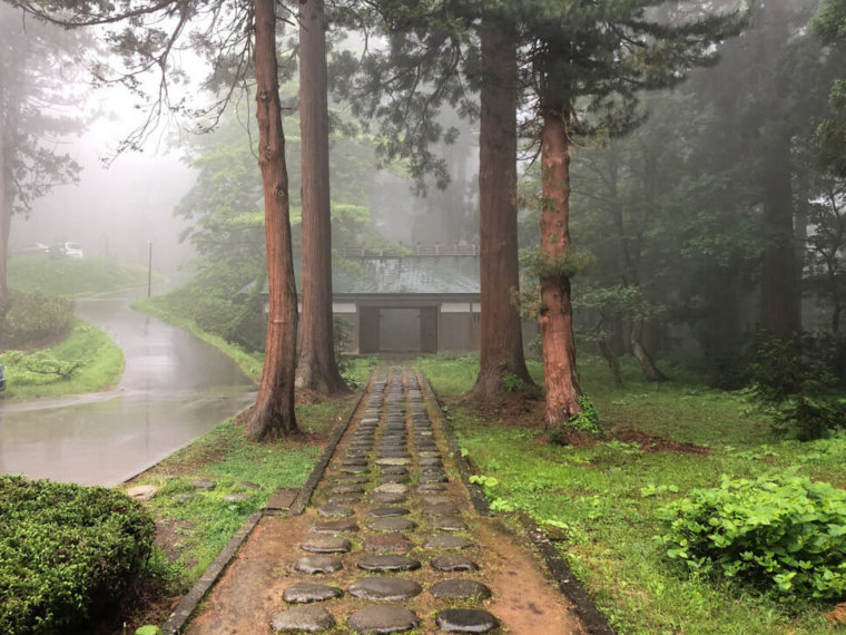 Saikan on Mt. Haguro of the Dewa Sanzan in the fog