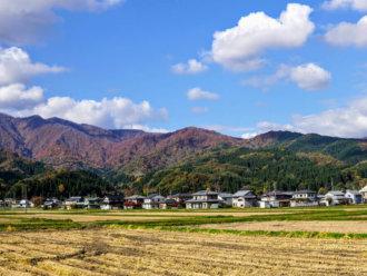Houses in Tsuruoka on the way up to Mt. Yudono of the Dewa Sanzan