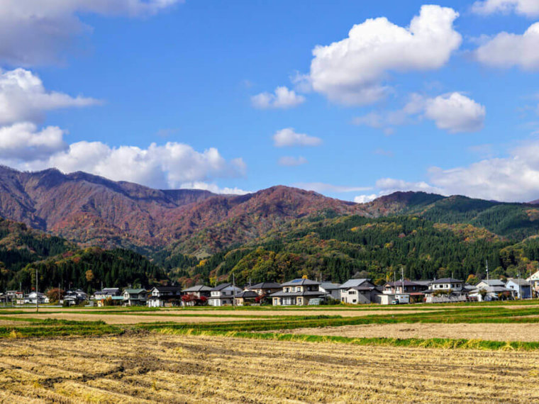 Houses in Tsuruoka on the way up to Mt. Yudono of the Dewa Sanzan