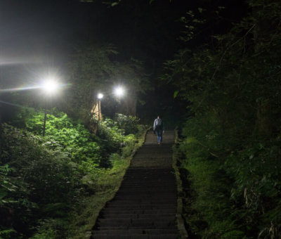 The stone stairway of Mt. Haguro during the Five Story Pagoda Light Up