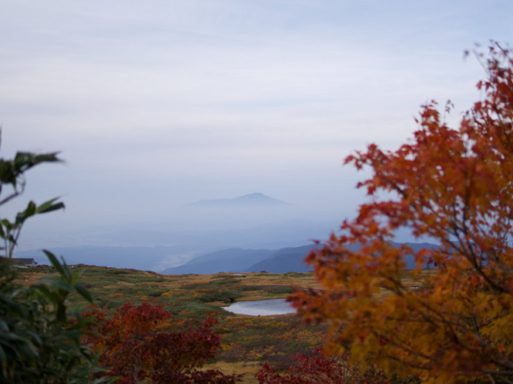 Mt. Chokai amongst the autumn leaves seen from Mt. Gassan of the Dewa Sanzan