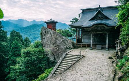 Temple at the top of Yamadera Risshakuji Temple, Yamagata, Japan