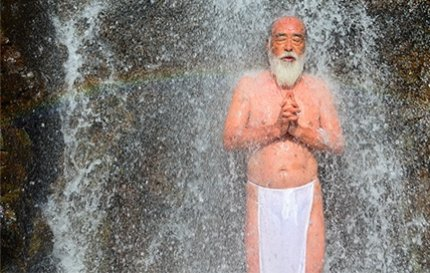 Master Hoshino during waterfall meditation on the Dewa Sanzan