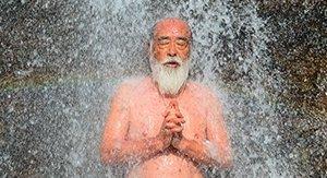 Master Hoshino during waterfall meditation on the Dewa Sanzan