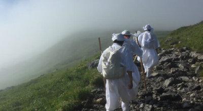 Yamabushi training on Mt. Gassan of the Dewa Sanzan