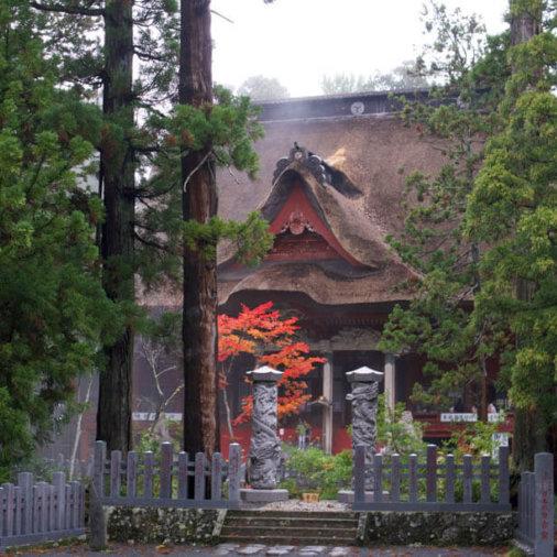 Sanjingosaiden Shrine at the top of Mt. Haguro of the Dewa Sanzan in Autumn